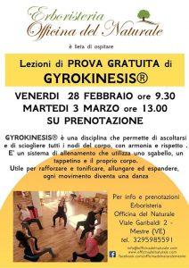 Lezioni di Prova Gratuita di Gyrokinesis a Mestre @ Erboristeria Officina del Naturale Mestre | Mestre | Italy