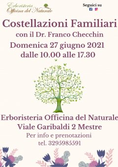 Costellazioni Familiari a Mestre 27 giugno 2021 @ Erboristeria Officina del Naturale Mestre | Mestre | Italy